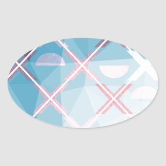 Abstract triangulate XOX Design Oval Sticker