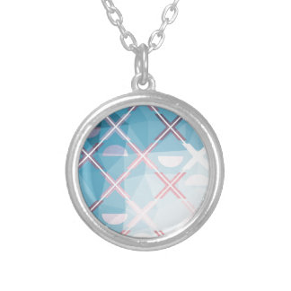 Abstract triangulate XOX Design Silver Plated Necklace