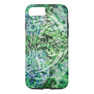 Abstract Tribal Digital Art, Green & White iPhone 7 Case