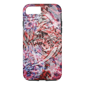 Abstract Tribal Digital Art, Red & White iPhone 8/7 Case