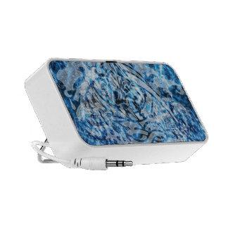 Abstract Tribal Graffiti Digital Art, Blue & White Portable Speakers