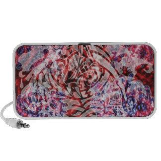 Abstract Tribal Graffiti Digital Art, Red & White iPod Speaker