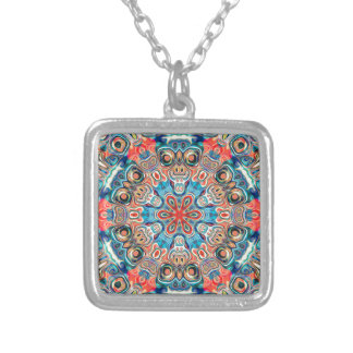 Abstract Tribal Mandala Silver Plated Necklace