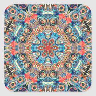 Abstract Tribal Mandala Square Sticker