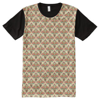 Abstract Tribal Pattern All-Over Print T-Shirt