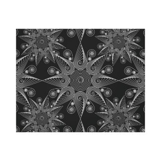Abstract tribal white snowflake, black background canvas print