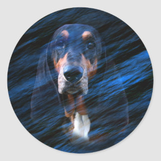 Abstract tricolor Basset Hound Classic Round Sticker