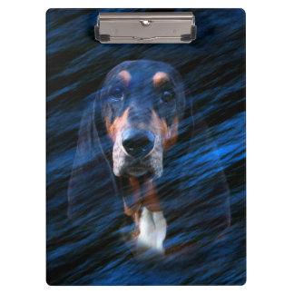 Abstract tricolor Basset Hound Clipboard