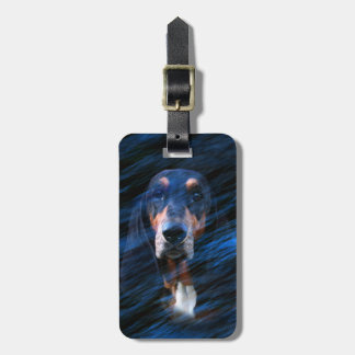Abstract tricolor Basset Hound Luggage Tag