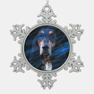 Abstract tricolor Basset Hound Snowflake Pewter Christmas Ornament