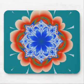 Abstract Tropical Blue Flower Plant Mouse Pad