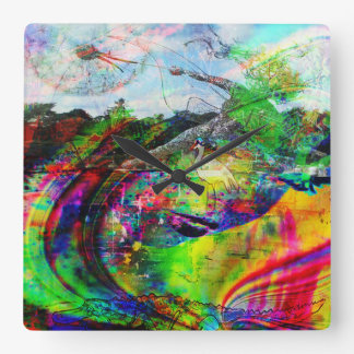 Abstract Tropical Fantasy Square Wall Clock