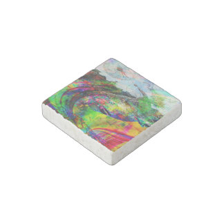 Abstract Tropical Fantasy Stone Magnet