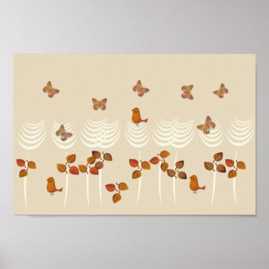Abstract Tropical Garden Gold Cream Collage Poster