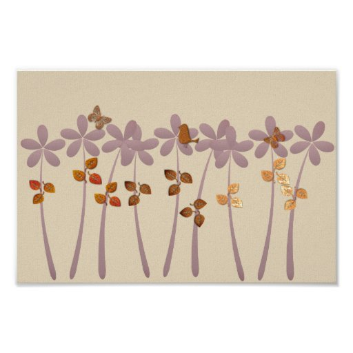 Abstract Tropical Garden Purple Gold Collage Poster