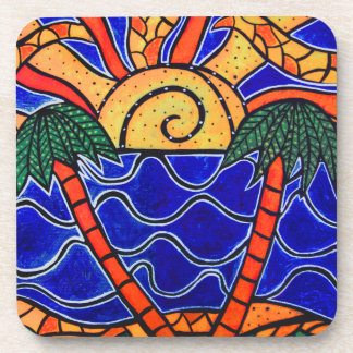 Abstract  Tropical Sunset Coaster