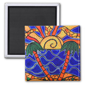 Abstract  Tropical Sunset Magnet