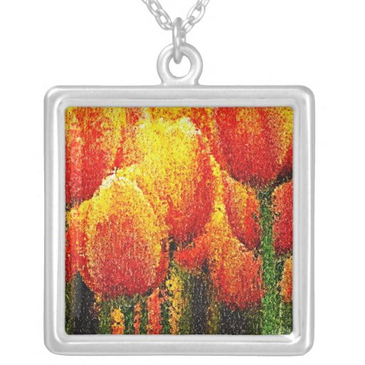Abstract Tulip Painting Art Necklace