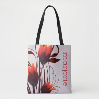 Abstract Tulips in Red, Black and Brown on Taupe Tote Bag