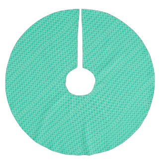 Abstract turquoise brushed polyester tree skirt