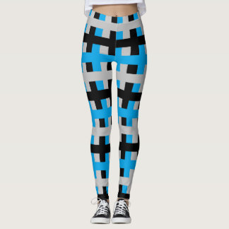 Abstract Turquoise, Grey and Black Leggings