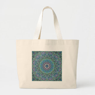 Abstract Turquoise Mandala Large Tote Bag