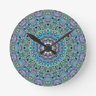 Abstract Turquoise Mandala Round Clock