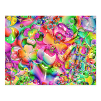 Abstract Twisted Color Flowers Postcard