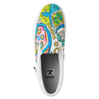 Abstract Underwater Jellyfish Pen Drawing ZIPZ Slip On Shoes