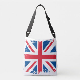 Abstract United Kingdom Flag, English Colors Crossbody Bag