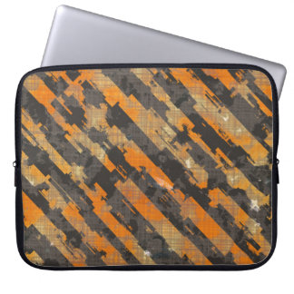Abstract Urban Distorted Lines Background Orange Laptop Sleeve