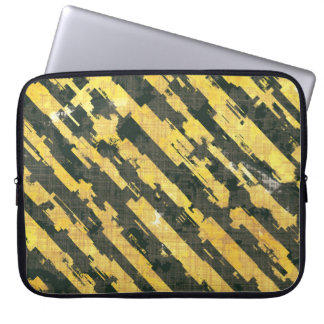Abstract Urban Distorted Lines Background Yellow Laptop Sleeve
