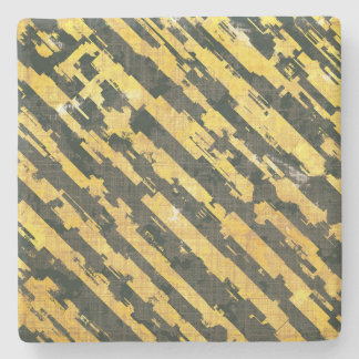 Abstract Urban Distorted Lines Background Yellow Stone Coaster