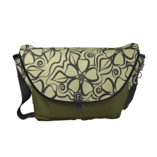 Abstract Urban Floral Black & Moss Sage Courier Bags