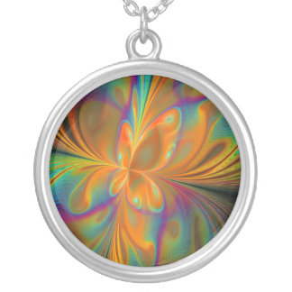 Abstract Vibrant Fractal Butterfly Pendant