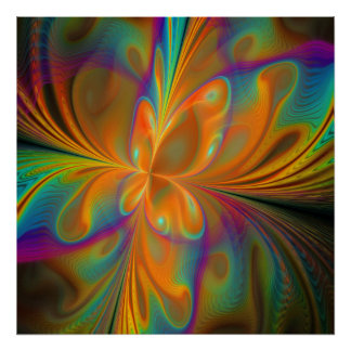 Abstract Vibrant Fractal Butterfly Print
