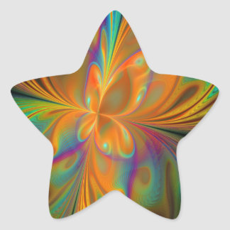Abstract Vibrant Fractal Butterfly Sticker