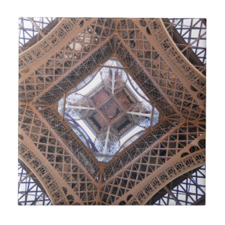 Abstract view of Eiffel Tower Small Square Tile
