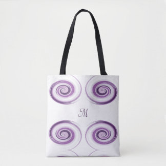 Abstract violet brush strokes spiral. tote bag