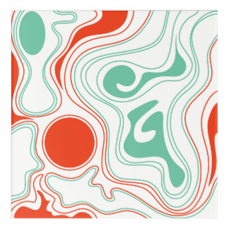 Abstract Wall Art Modern Bright Orange Green 1960s
