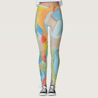 Abstract Water Color Painting Leggings