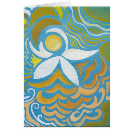Abstract Water Lily Blank Card