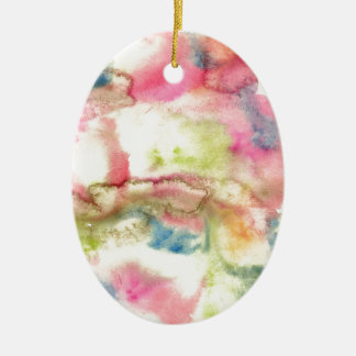 Abstract watercolor art hand paint on white backgr ceramic oval decoration