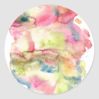 Abstract watercolor art hand paint on white backgr round sticker