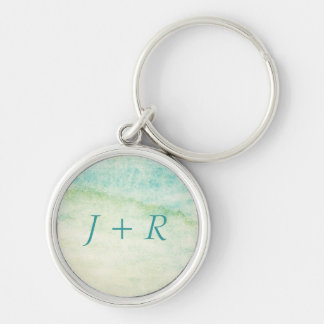Abstract  watercolor background Silver-Colored round key ring