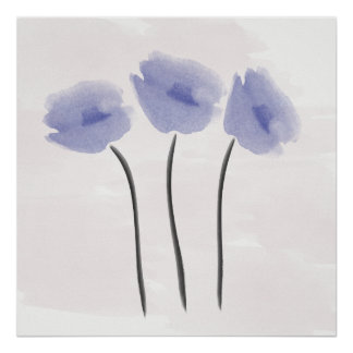 Abstract Watercolor Blue Anemone Poster