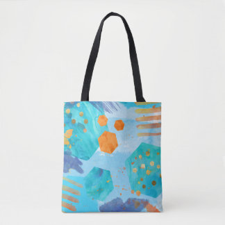 Abstract watercolor blue hexagon painted tote bag