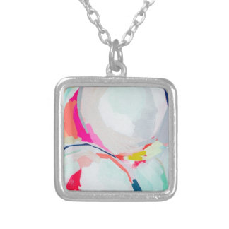 Abstract WaterColor Brushstroke Silver Plated Necklace