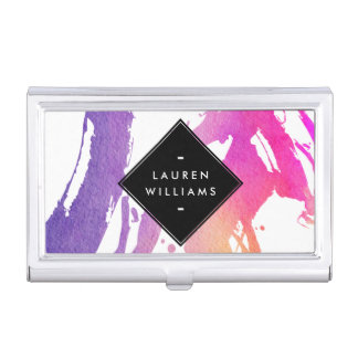Abstract Watercolor Brushstrokes Personalized Business Card Cases
