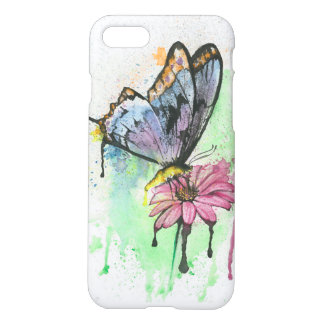 Abstract watercolor butterfly on pink daisy flower iPhone 7 case